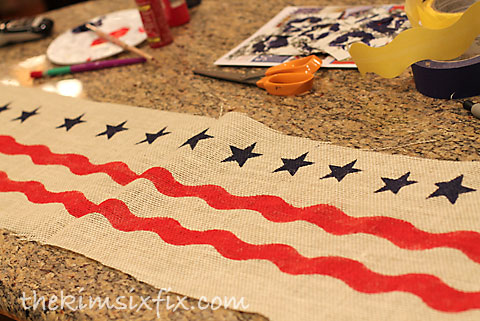 Painting burlap stars stripes