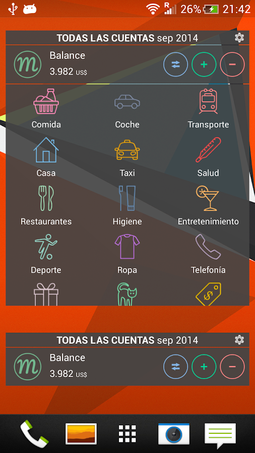 Monefy - Expense Manager: captura de pantalla
