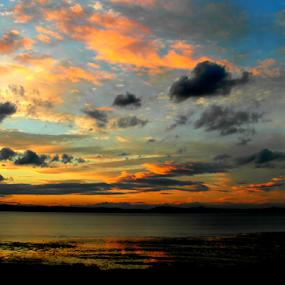 August Night by Nicola Graham - Landscapes Cloud Formations ( clouds, cloud formations, water, beach, landscapes, blue, orange. color )