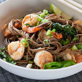 Lemongrass Shrimp with Soba Noodles & Chinese Broccoli.