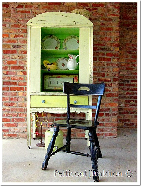 yellow-green-painted-hutch