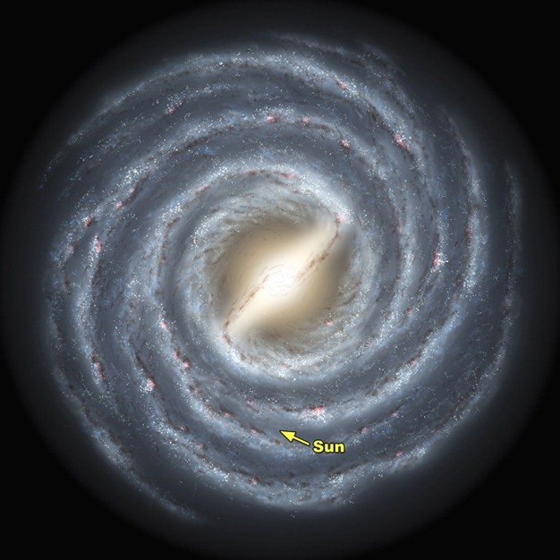 The Milky Way, it turns out, is no ordinary spiral galaxy. According to a massive new survey of stars at the heart of the galaxy by Wisconsin astronomers, including professor of astonomy Edward Churchwell and professor of physics Robert Benjamin, the Milky Way has a definitive bar feature -- some 27,000 light years in length -- that distinguishes it from pedestrian spiral galaxies, as shown in this artist's rendering. The survey, conducted using NASA's Spitzer Space Telescope, sampled light from an estimated 30 million stars in the plane of the galaxy in an effort to build a detailed portrait of the inner regions of the Milky Way. Used with permission by:  UW-Madison University Communications 608-262-0067 Illustration by: NASA/JPL-Caltech/R. Hurt (SSC/Caltech)