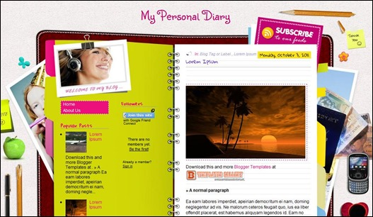 my personal diary blogger template