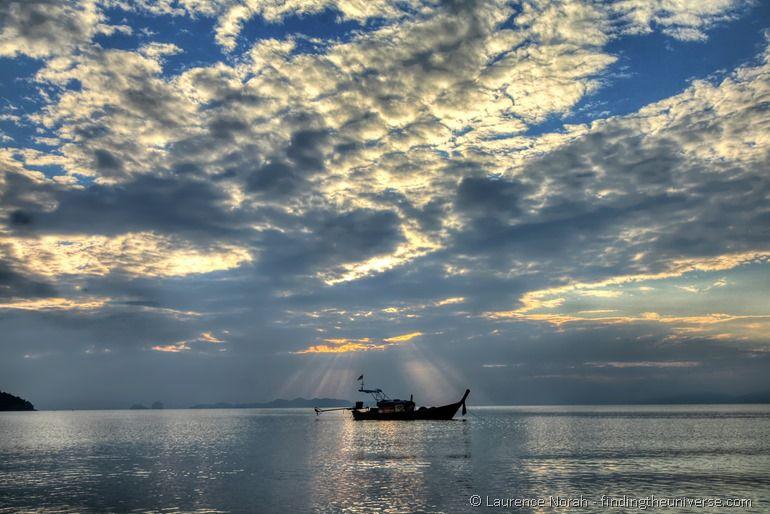 Boat sunset Thailand rays sea islands Andaman coast