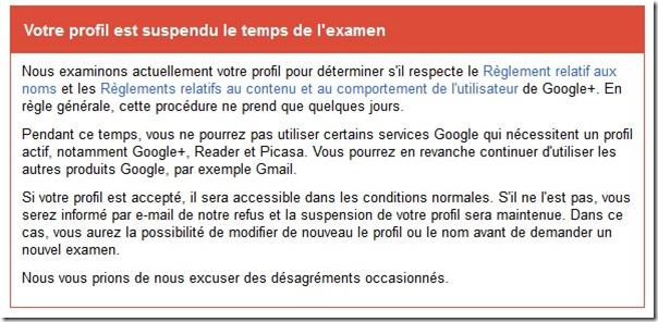 profil google + suspendu