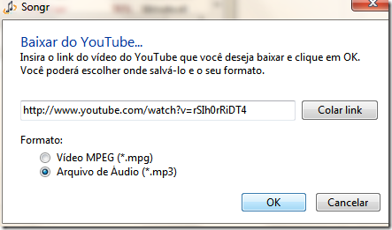 Baixar mp3 ou mpg de vídeo do YouTube