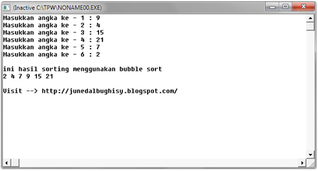 Source Code Program Pengurutan Bubble Sort dengan Pascal 01