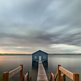 The Boat Shed by Steve Brooks - Landscapes Waterscapes ( water, canon, perth, green, reflections, jetty, boat, boardwalk, shed, sky, blue, australia, cloud, boat shed, brown, sunrise, perfect, western australia )