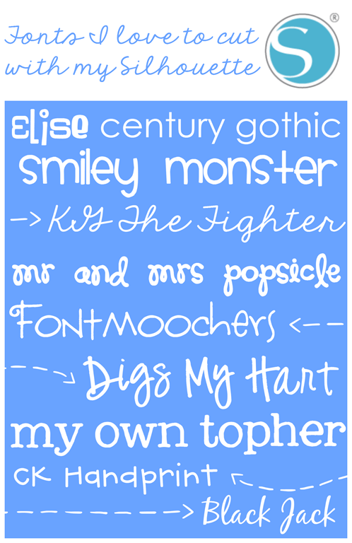 Fonts I love to cut with my Silhouette at GingerSnapCrafts.com #SilhouetteCAMEO #SilhouettePortrait