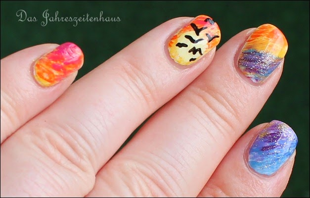 Flying Birds Sundown Nail Art 4