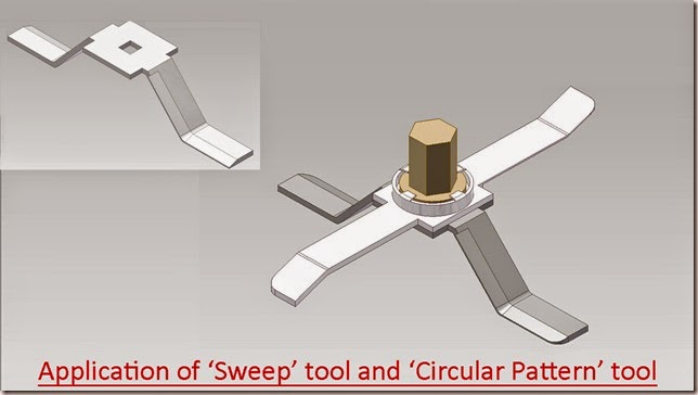 Application of 'Sweep' tool and 'Circular Pattern' tool
