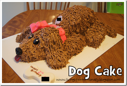 completed dog cake with bone