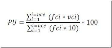 Fórmula matemática para calcular el valor porcental de usabilidad de un sitio web