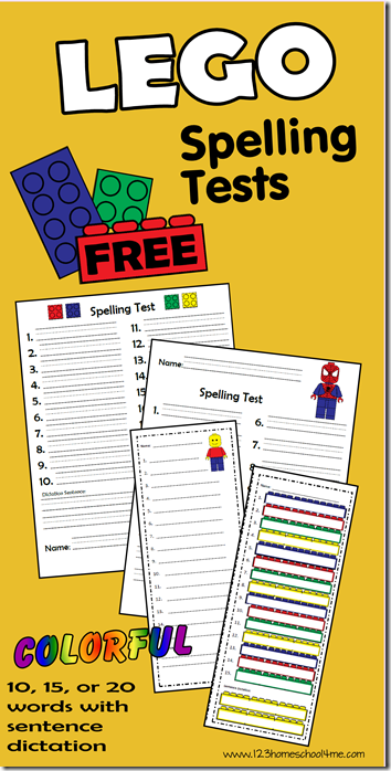 Free LEGO Spelling Tests for Homeschool Kindergarten - 6th Grade