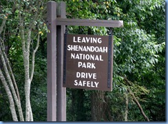 1261 Virginia - Shenandoah National Park - Skyline Drive - Leaving Shenandoah National Park sign
