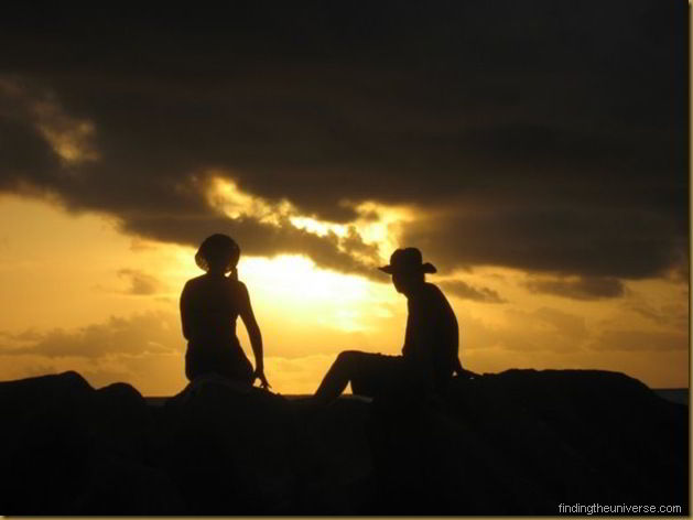 watching the sunset on La Digue Island, Seychelles