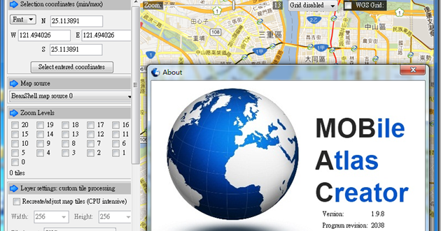 使用Mobile Atlas Creator (MOBAC 1 9 以上) 抓取Google Maps