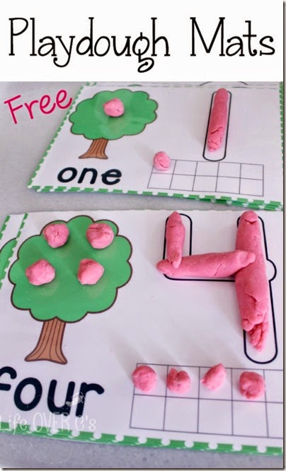 Free apple playodugh mat are such a fun way for toddler, preschool, prek, and kindergarten age kids to practice counting and forming letters. (playdough mats, home preschool, homeschooling)