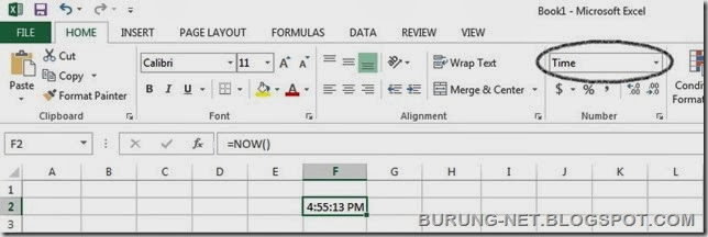 fungsi Now Excel function