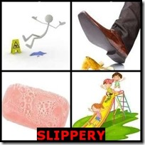 SLIPPERY- 4 Pics 1 Word Answers 3 Letters