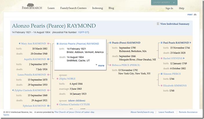 New FamilySearch.org祖先档案谱系图表