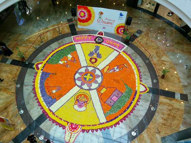 Onam Pookalam Top View, Forum Mall, Mangalore
