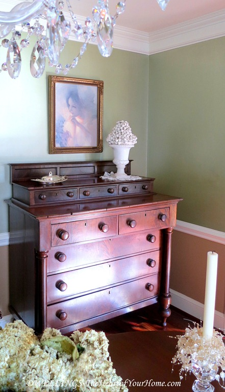 Antique 1800's Mahogany Empire Chest in the Dining Room