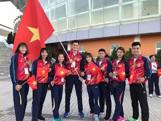 Các VĐV điền kinh quốc gia tham dự Đại hội thể thao sinh viên Đông Nam Á 2018.