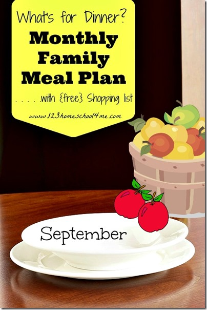 September meal planner with free shopping list #meal planner