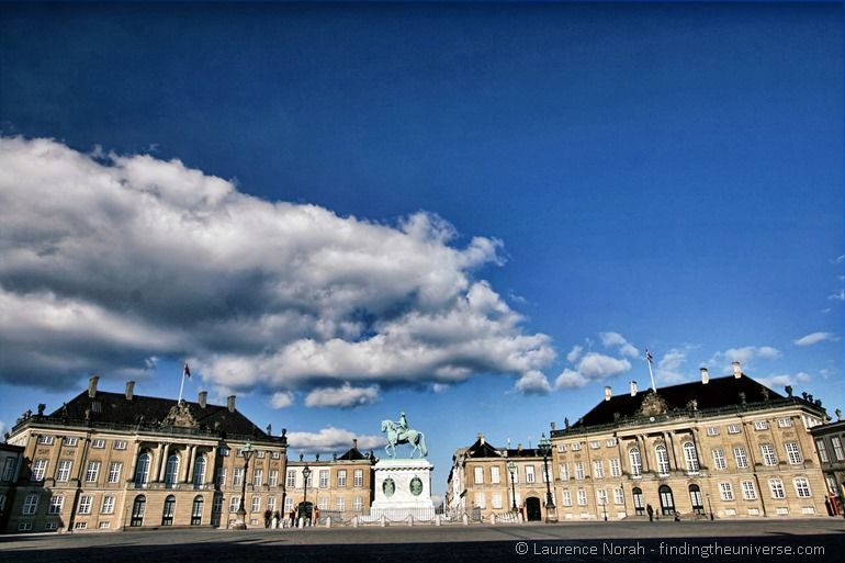 Royal palaces and Horse statue Copenhagen clouds