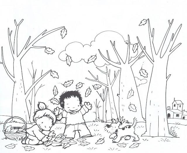 El Otoño Y Los Niños Dibujos Para Pintar