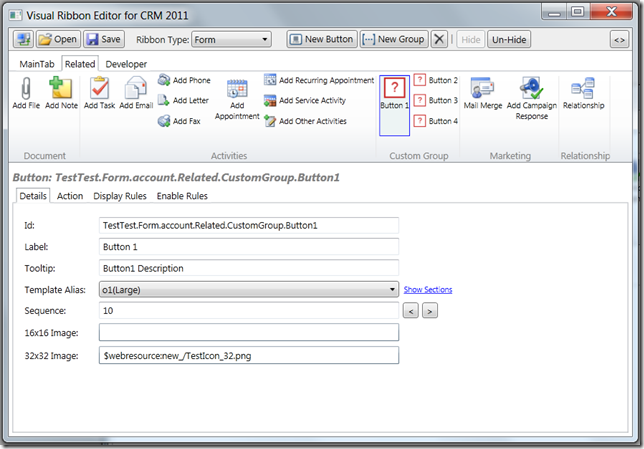CRM Visual Ribbon Editor