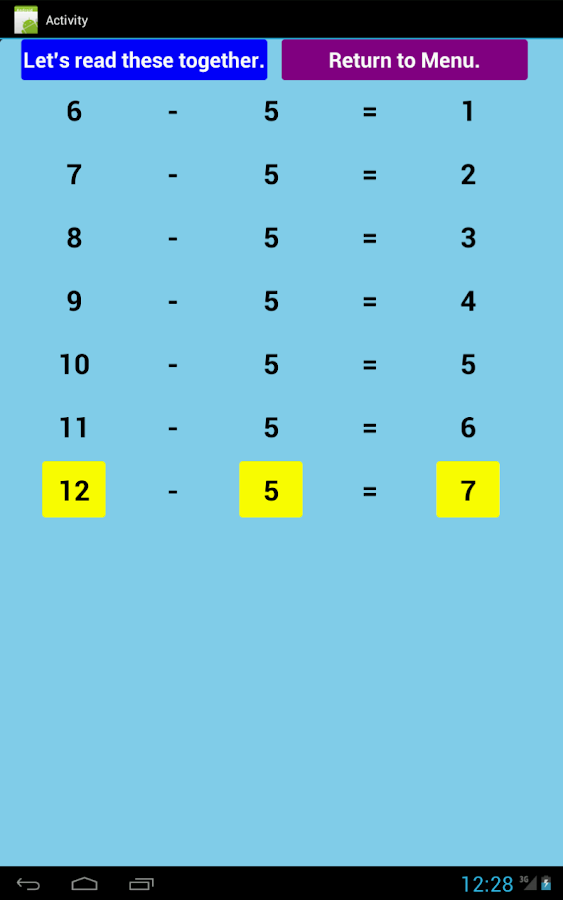 Subtraction Tables Free- screenshot