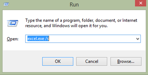 Opening Microsoft Excel 2013 in safe mode using the run command