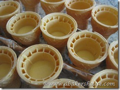 cones with cake batter