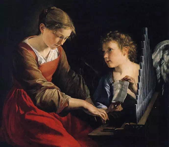 """Bức """"Saint Cecilia with an Angel"""" của họa sĩ Orazio Gentileschi vẽ vào năm 1618-1621 mô tả cảnh Thánh nữ đang đánh đàn organ cùng với một Thiên thần."""