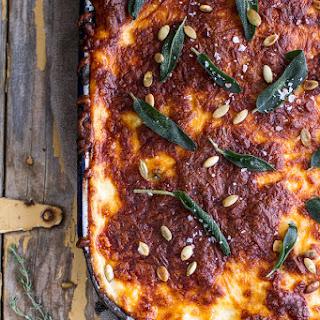 Simple Caramelized Butternut Squash and Kale Florentine Lasagna.