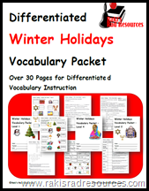 Download this free vocabulary packet, with four differentiated levels of instruction, all focused on the winter holidays of Christmas, Haunakkah, Kwanza, and Diwali.