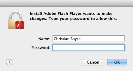 Adobe flash player password