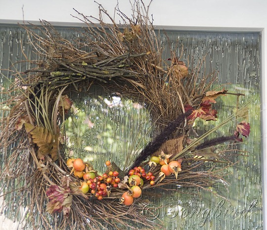 Fall Twig Wreath with Orange Berry Decorations Full View