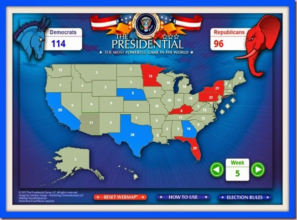 Presidential Game web map in use
