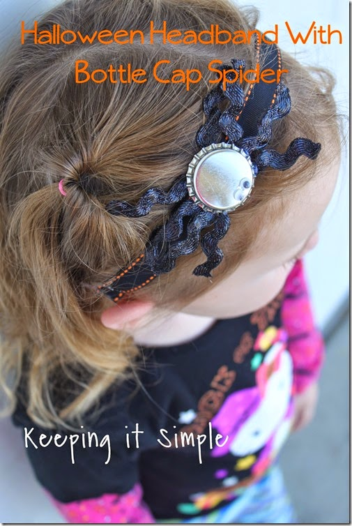 Halloween headband with bottlecap spider
