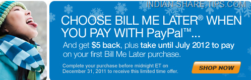 Bill Me later & Get $5 Back from Paypal
