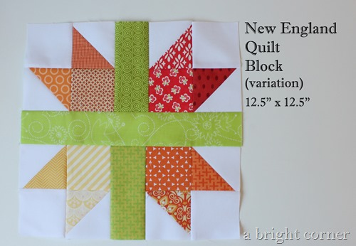 free quilt block tutorial: scrappy New England block