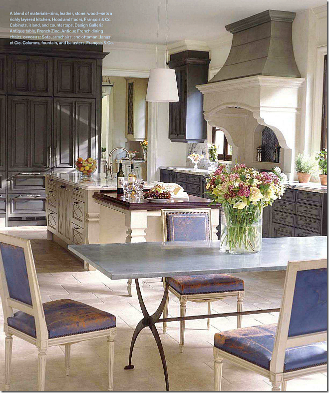 In Suzanne Kaslers Clients House The Blue Leather Antique Louis XVI Chairs Are Used Their Kitchen