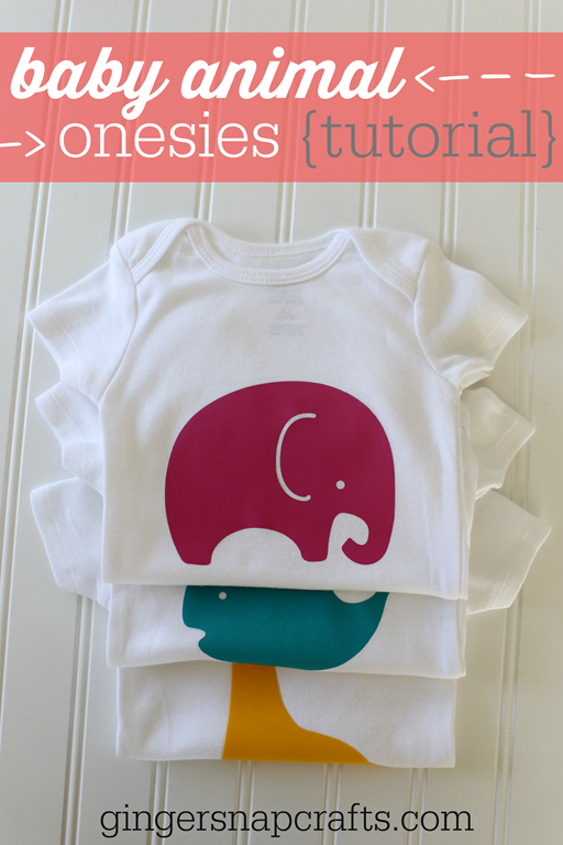 Baby Animal Onesies Heat Transfer Tutorial at GingerSnapCrafts.com #SilhouetteCAMEO #SilhouettePortrait #Silhouette #spon