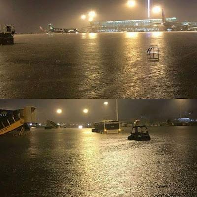 Sân bay Tân Sơn Nhất sau cơn mưa chiều nay