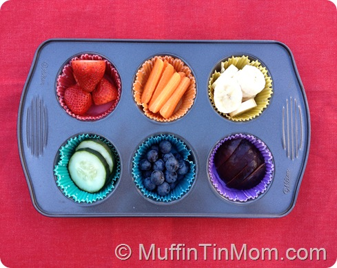 rainbow food muffin tin meal