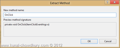 Visual Studio 2012 Refactor - Extract Method