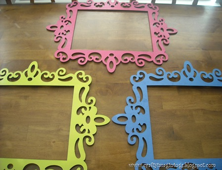 Spraypainted wooden scroll frames